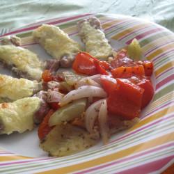 Σνίτσελ στο φούρνο με ψητά λαχανικά...