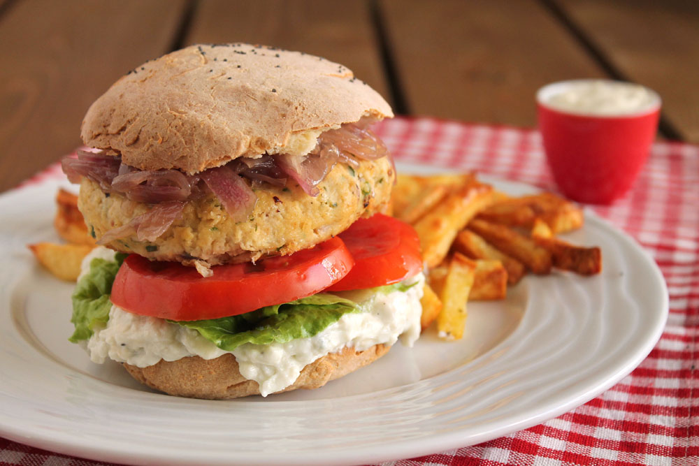 blue cheese and bacon chicken burger