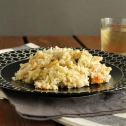 Ρύζι με λαχανικά και κεφαλοτύρι στο φούρνο...