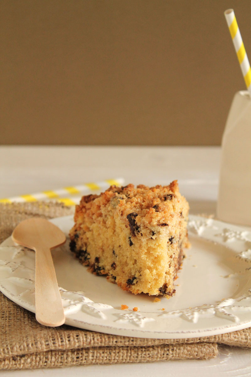 Coconut and chocolate chip crumble cake