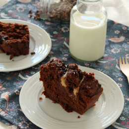 Banana,cocoa and nibs cake