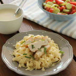 Grilled chicken with lighter white sauce tagliatelle