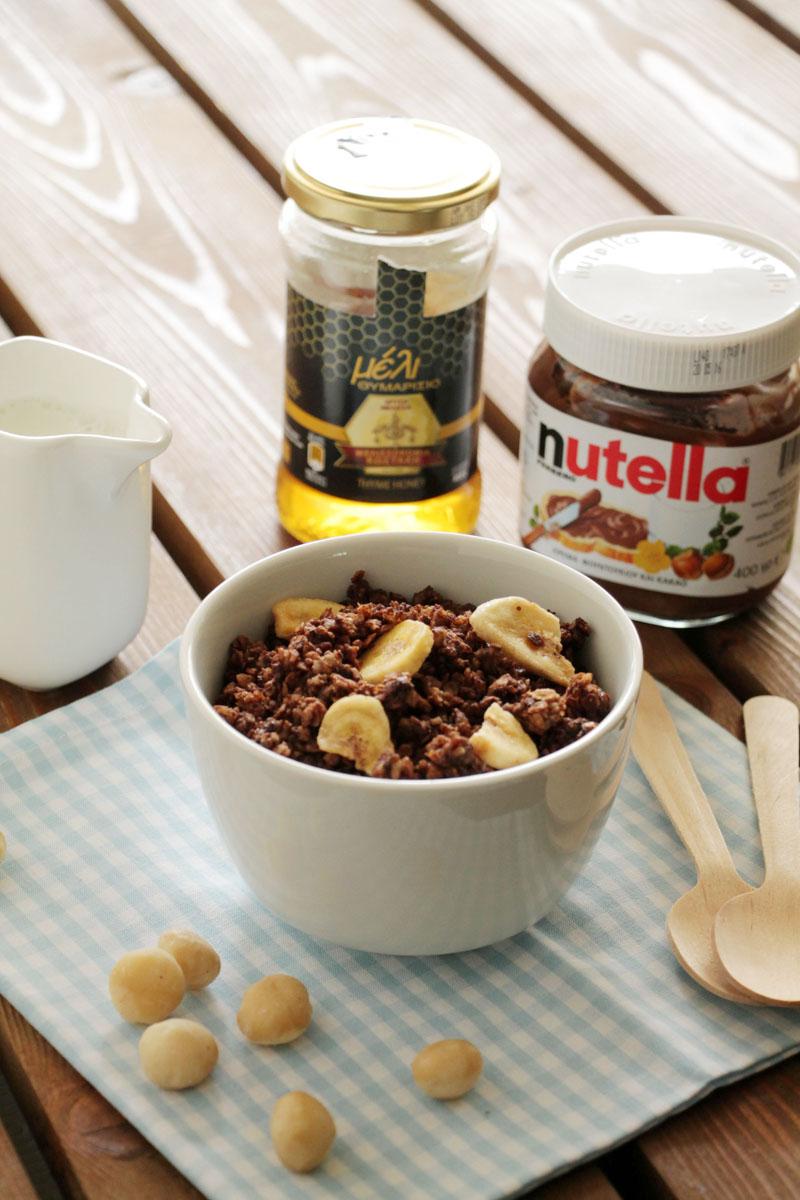 Γκρανόλα με μπανάνα και nutella