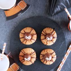 Μπισκότα αράχνες με φυστικοβούτυρο και σοκολάτα